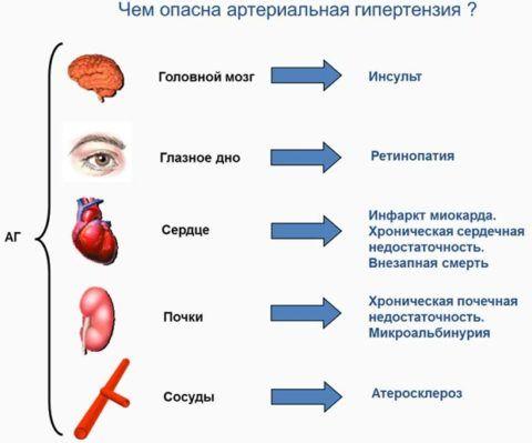 На картинке нарисовано, какие сбои и необратимые процессы могут произойти в жизненно – важных органах и системах.